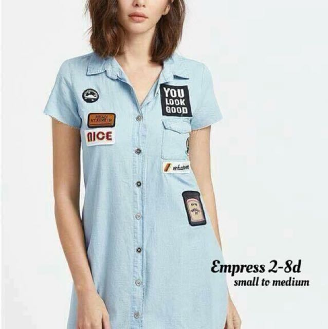 Patched Denim Dress