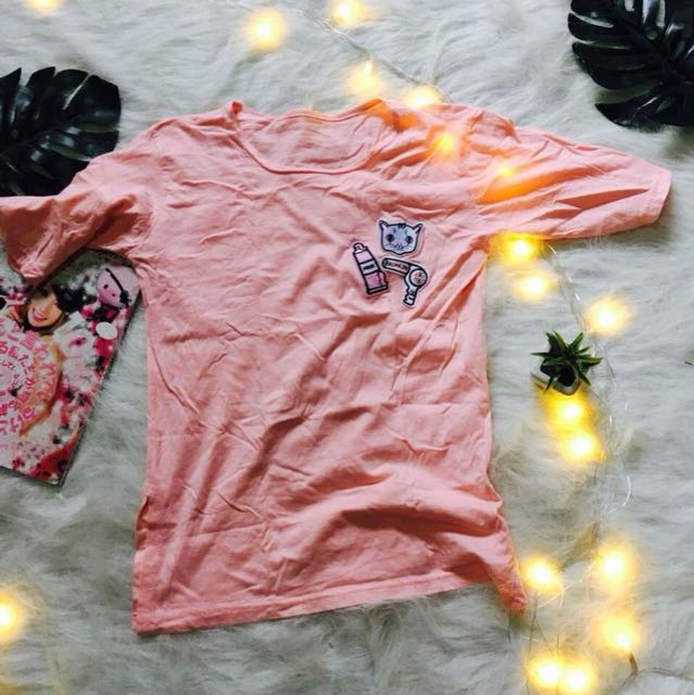 Peach Long Shirt with Patches