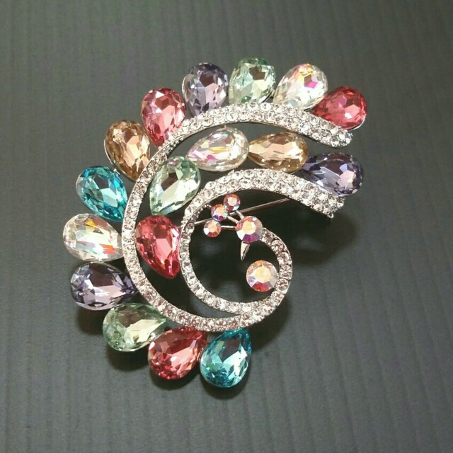 eec94c5b1d6 'Peacock ' Brooch With Assorted Colour Swarovski Crystals ., Women's  Fashion, Accessories on Carousell