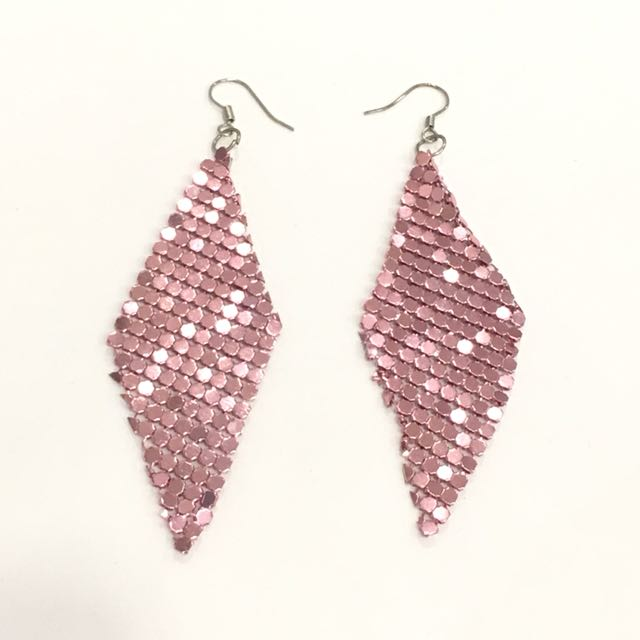 Pink party metal drop earrings
