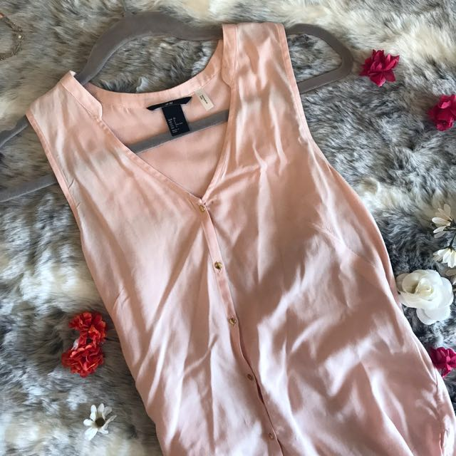 Pink Top With Gold Buttons