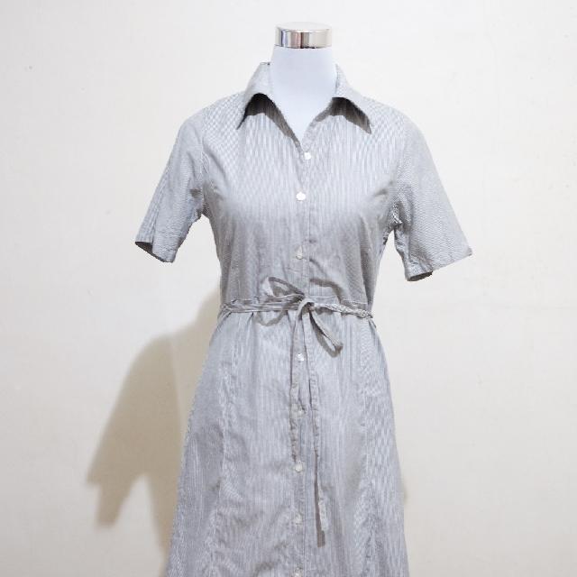 🍃Pinstriped Midi Polo Shirt Dress
