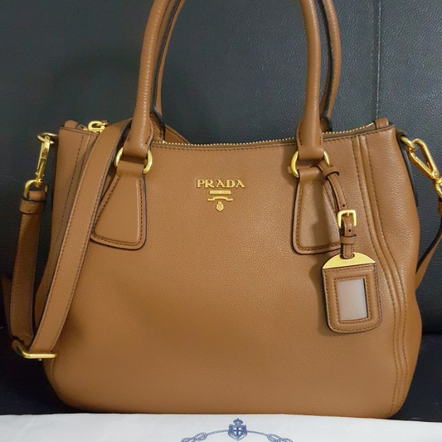 Prada leather bag - 1BC032  Vitello Phenix in Canella, Luxury, Bags ... 6fd29f65af