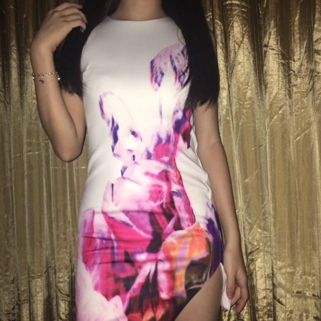 Printed Side Cut Dress