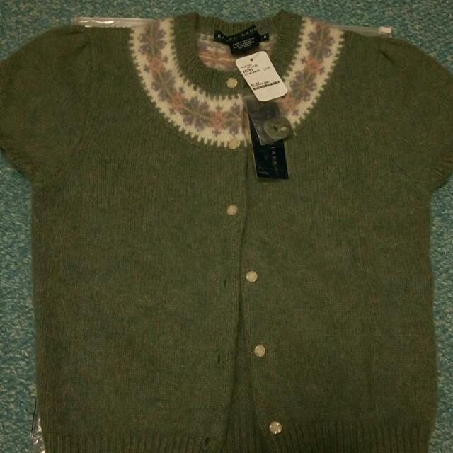 RL 喀什米爾 100%綠色短袖毛衣M