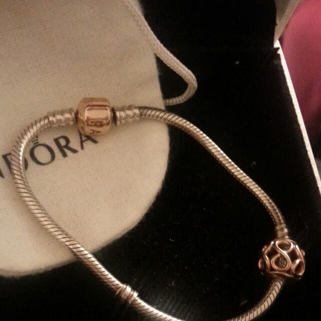 Rose Gold Pandora bracelet with Charm.