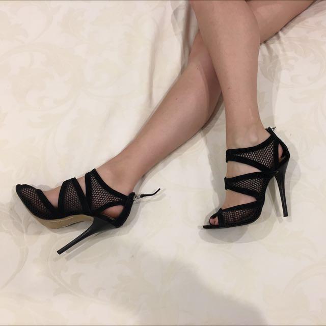 Siren Black Suede Stilettos, Size 5.5