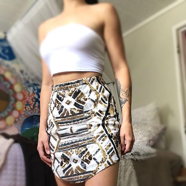stretchy sparkly skirt