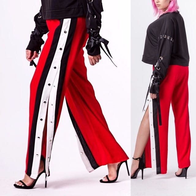 Track Pants with buttons (Red)