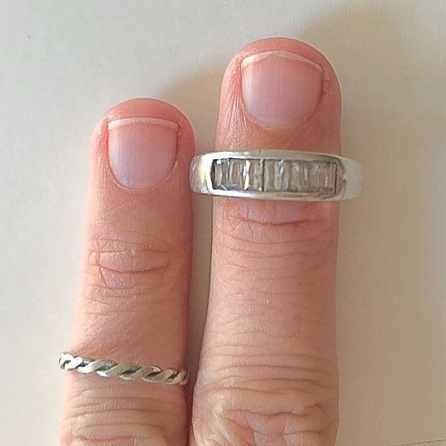 Two silver 925 rings - zirconia ring