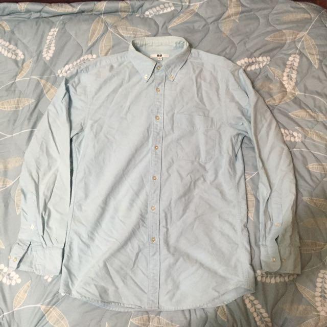 Uniqlo 水藍 淺藍 襯衫