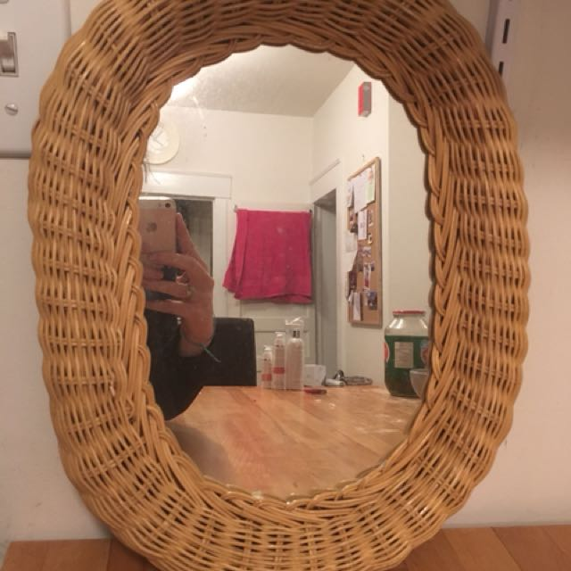 Wall Mirror: Wicker Frame