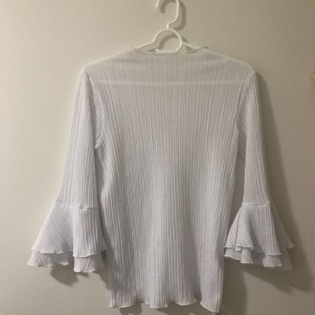 White High Neck Top w/ Bell Sleeves