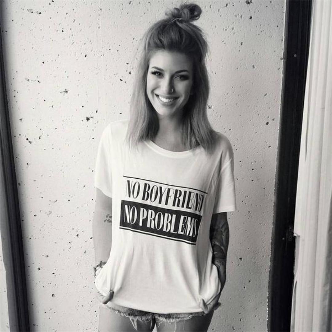 Women's fahion NO BOYFRIEND NO PROBLEMS black & white t-shirt, medium