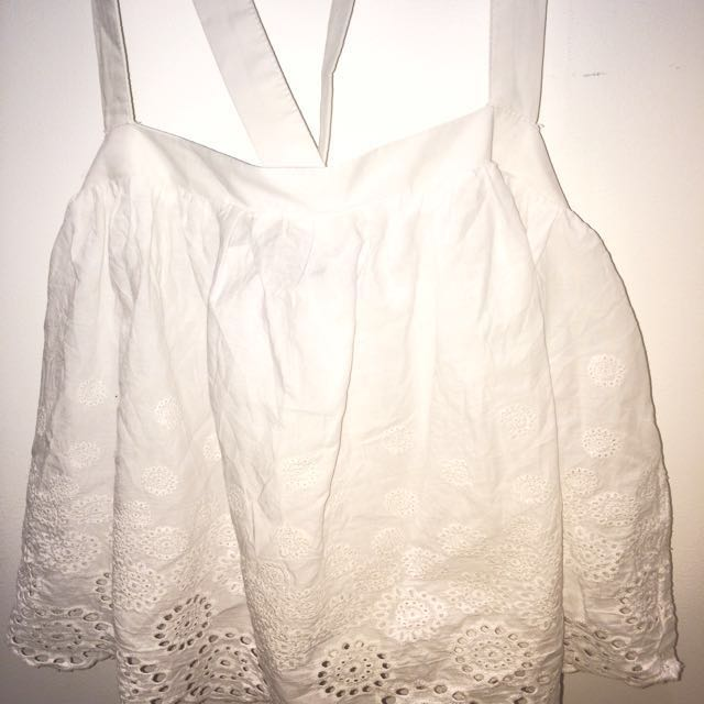 Women's Glassons Lace White Sleeveless Crop Tank With Criss-Cross Back