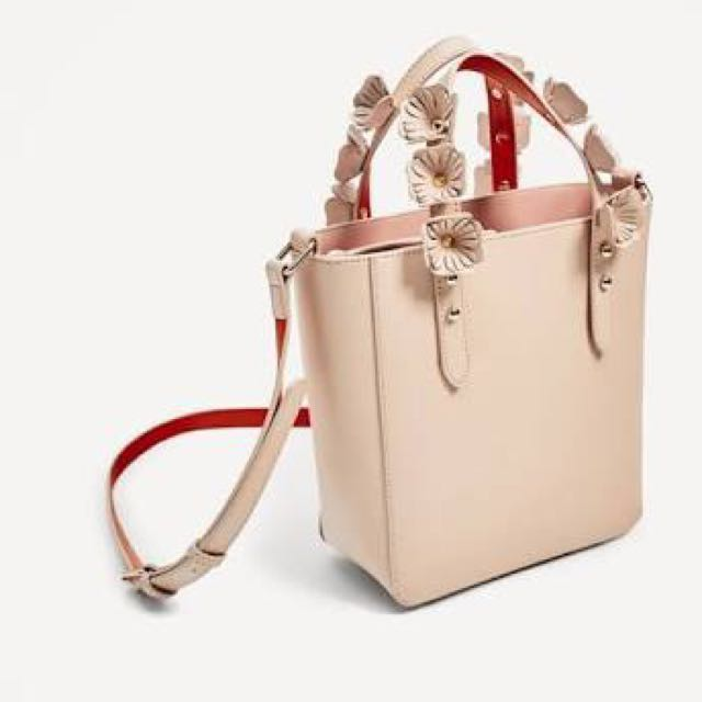 Zara bag flower nude