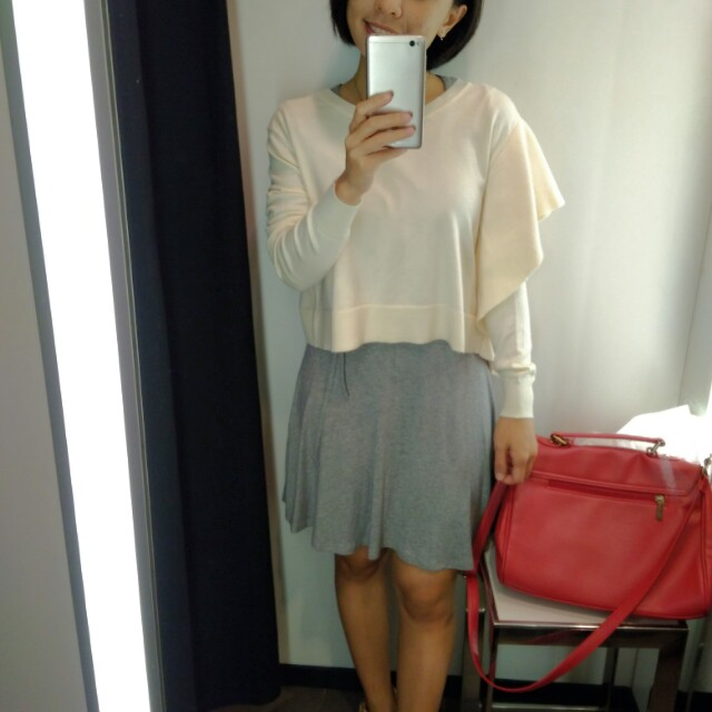 Zara Cream Colour Batwing Knitted Top