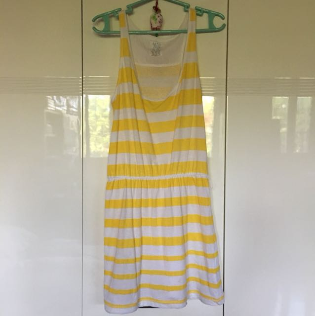 Zara Yellow Striped Long Top/Short Dress