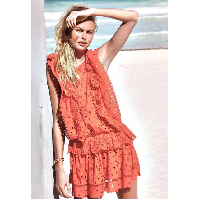 Zimmermann Marisol Eyelet Embroidered Flip Dress in Tomato (Size 0)