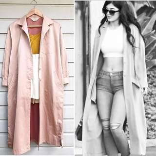 Salmon Pink Long Trench Coat