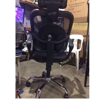 Ergodynamic EHB-888N3 Tilting Mesh Office Chair with Headrest (Black)