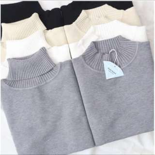 半高領毛衣—灰色