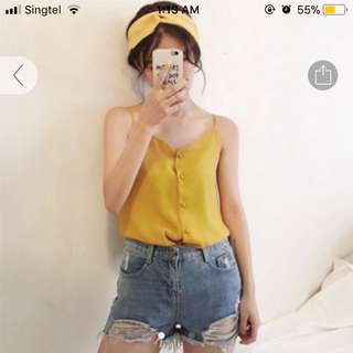 Yellow button down camisole