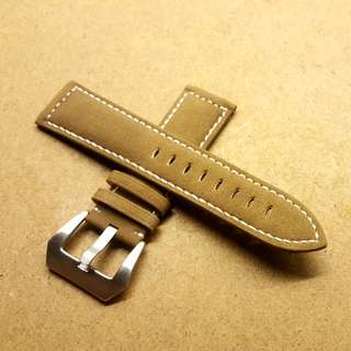 24mm/22mm Suede Brown Leather Strap