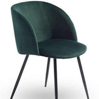 2 Beautiful Brand New Green Velvet Dining/Occasional chair