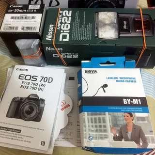 Canon 70D Full Box Set c/w 18-135mm STM Kit Lens, FlashGun,50mm f1,8
