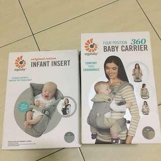 ORIGINAL ERGOBABY 360 BABY CARRIER AND ORIGINAL COTTON INFANT INSERT (GREY)