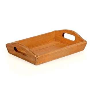 zakka 生活雜貨 鄉村風 深木色 桌上收納整理盒 原木托盤 收納盒 木製托盤 OTU24D5