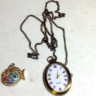 Vintage Watch Necklace with free pendant