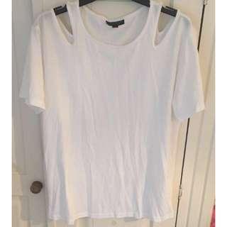 Topshop white cut-out t-shirt