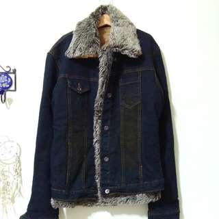 🚚 復古藍刷毛外套(內膽可拆)