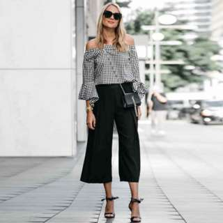 Gingham Off shoulder Blouse + Culottes Set