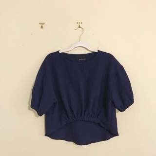 Dark Blue Pink Manila Blouse