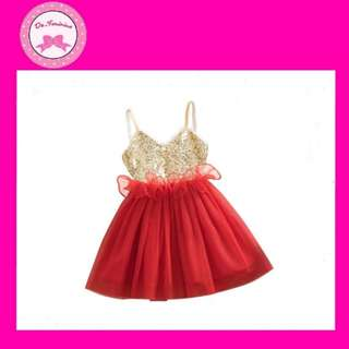 💕 Instock Toddler Sequin Party Dress - Red Lace