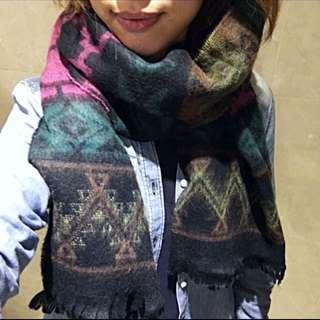 韓國帶回 幾何保暖圍巾 披肩