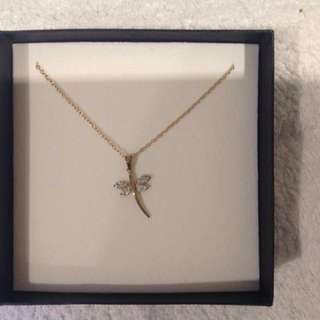 9ct Gold Dragon Fly Pendant & Necklace