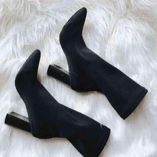 Stretch sock-style block heel ankle boot size 39