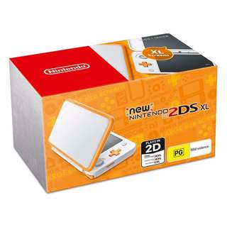 Modded New2DS XL Nintendo (White/Orange)