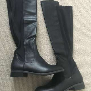 SPURR knee high leather boots black size 7