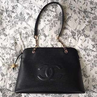 CHANEL Vintage Black Caviar Leather Embossed CC Logo Tote Bag