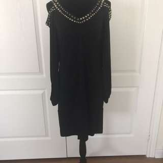 BCBG cut out sleeve black dress