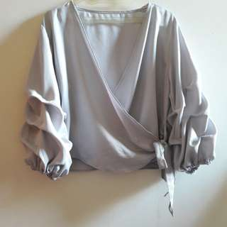 formal blouse in grey