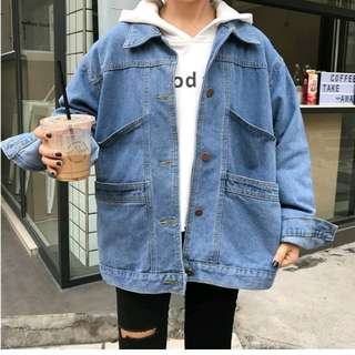 Oversized jeans jacket big pocket