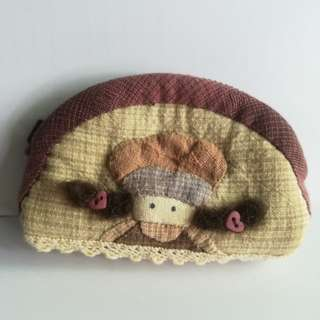 Handmade applique girl coin purse