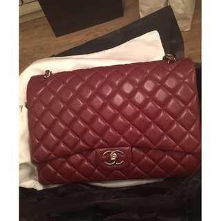 Chanel 香奈兒 手提包 時尚酒紅色包包