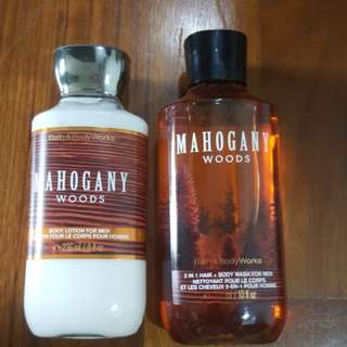 Brand new 2-in-1 Hair & Body Wash + Body Lotion from Bath & Body Works (Mahogany Woods)